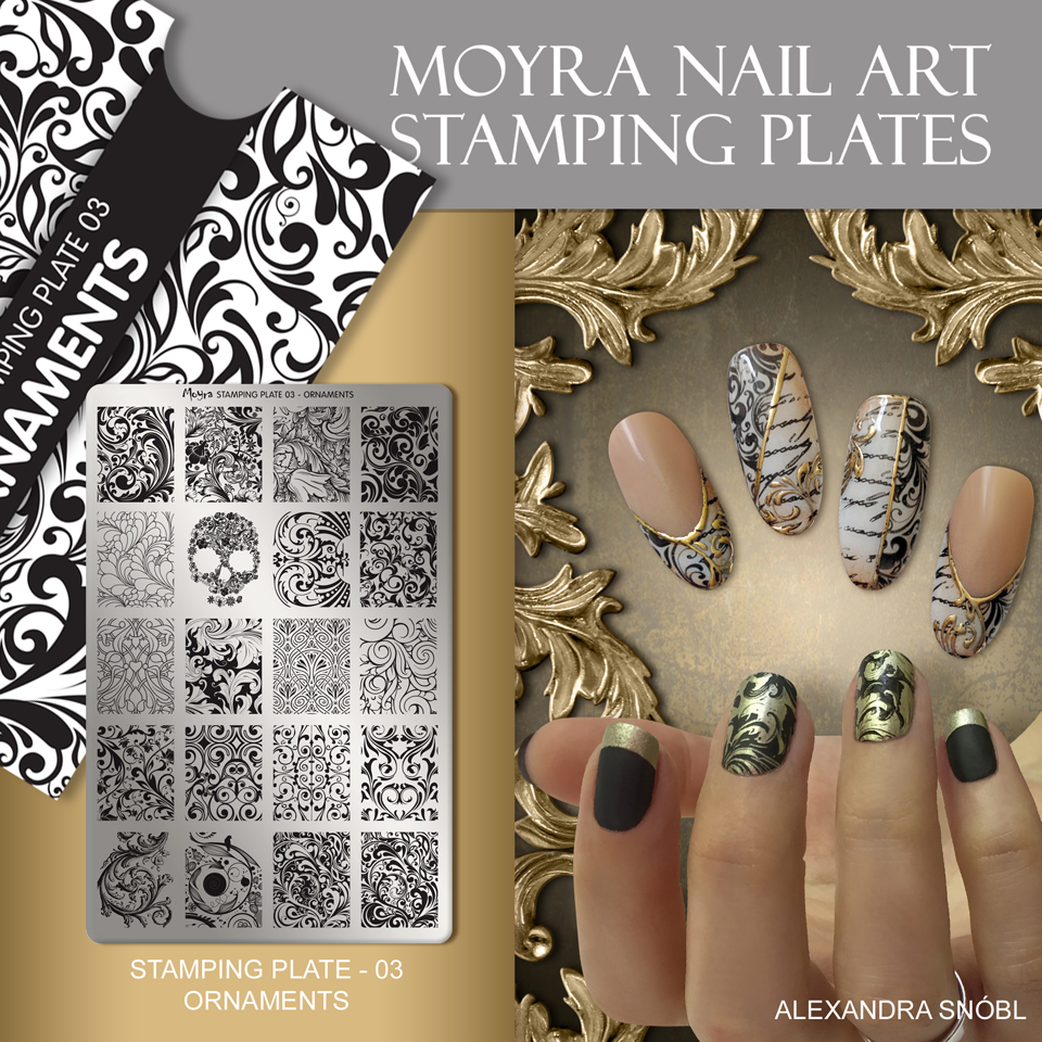 Nail design with Moyra stamping plate No. 03 Ornaments
