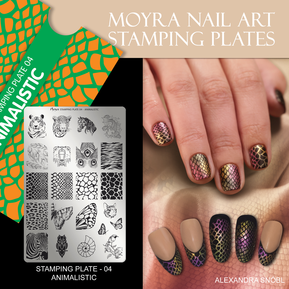 Nail design with Moyra stamping plate No. 04 Animalistic