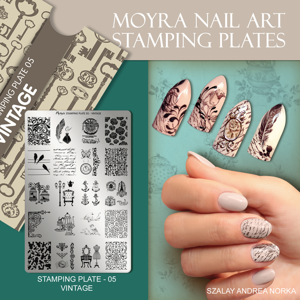 Nail design with Moyra stamping plate No. 05 Vintage
