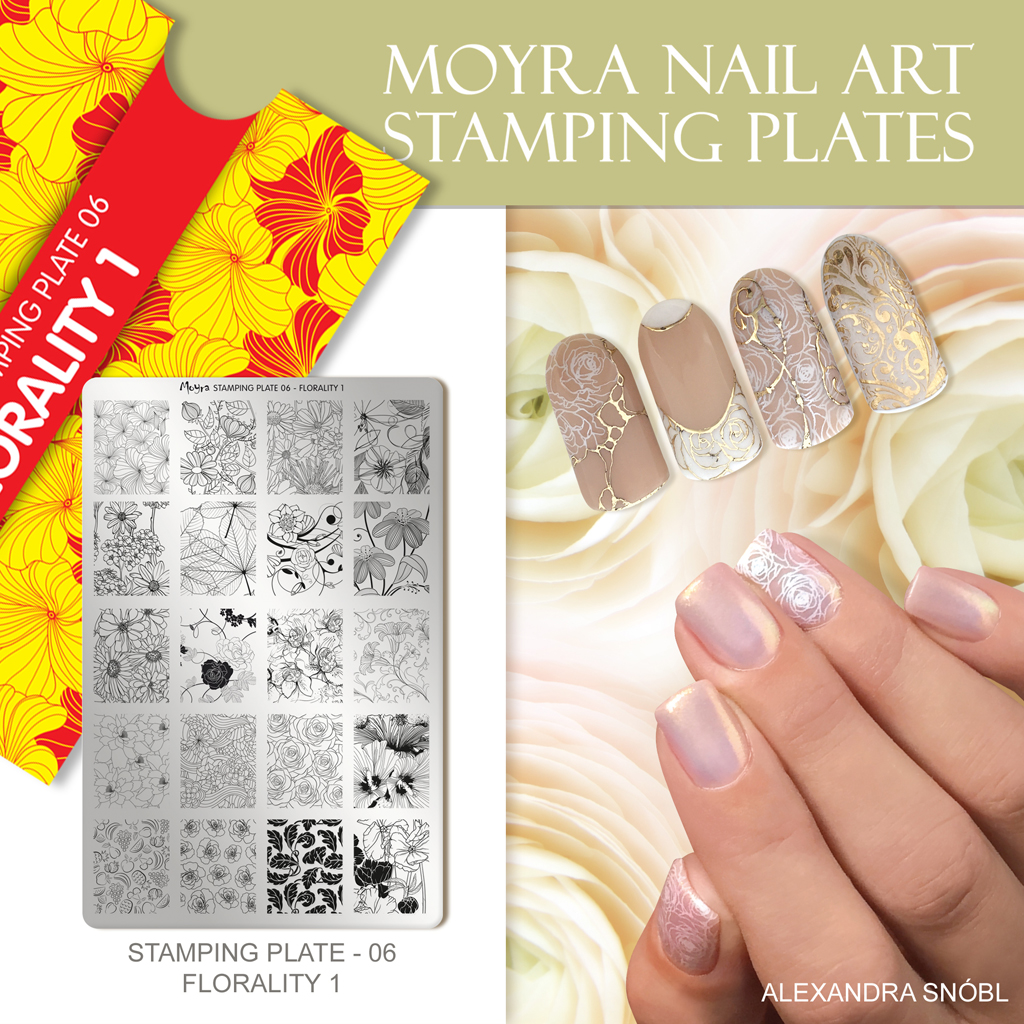 Nail design with Moyra stamping plate No. 06 Florality 1