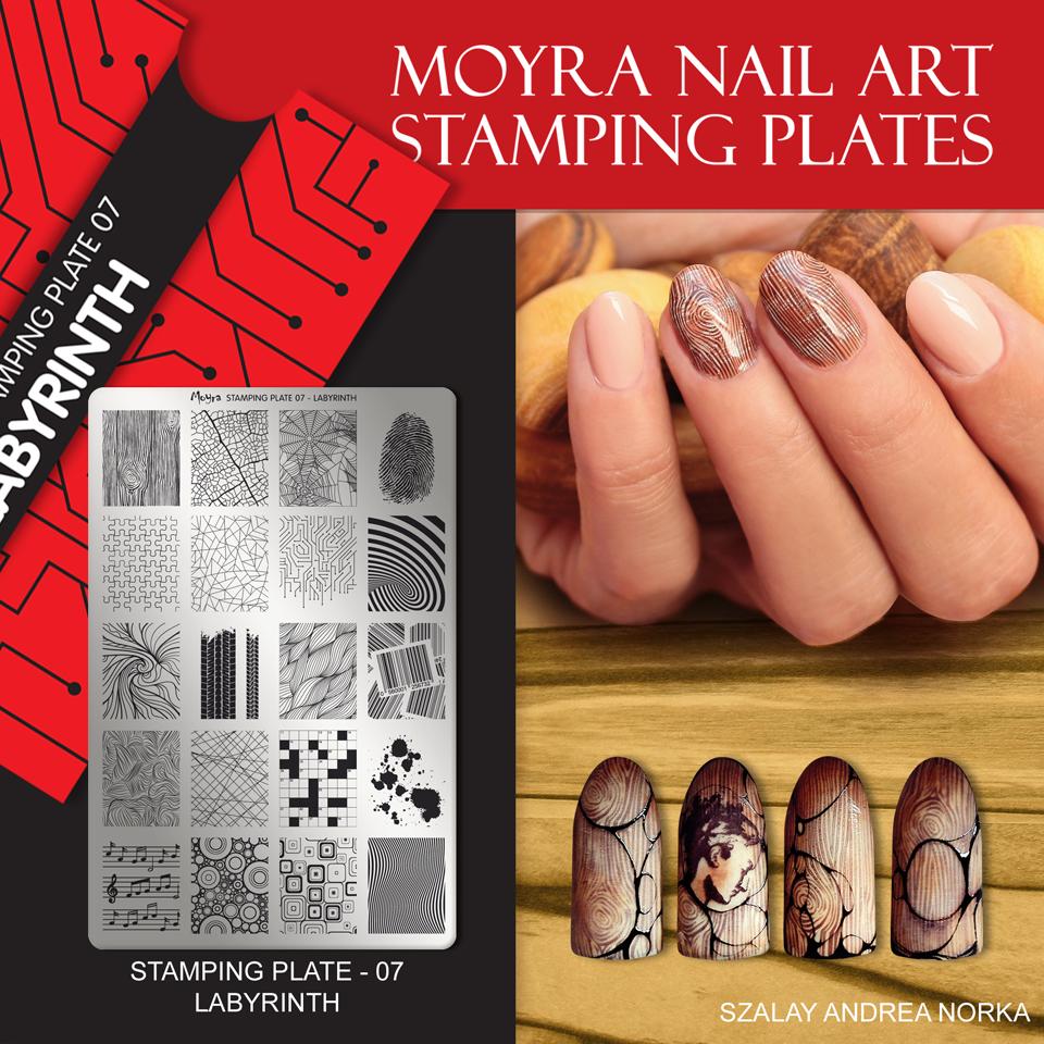 Nail design with Moyra stamping plate No. 07 Labyrinth