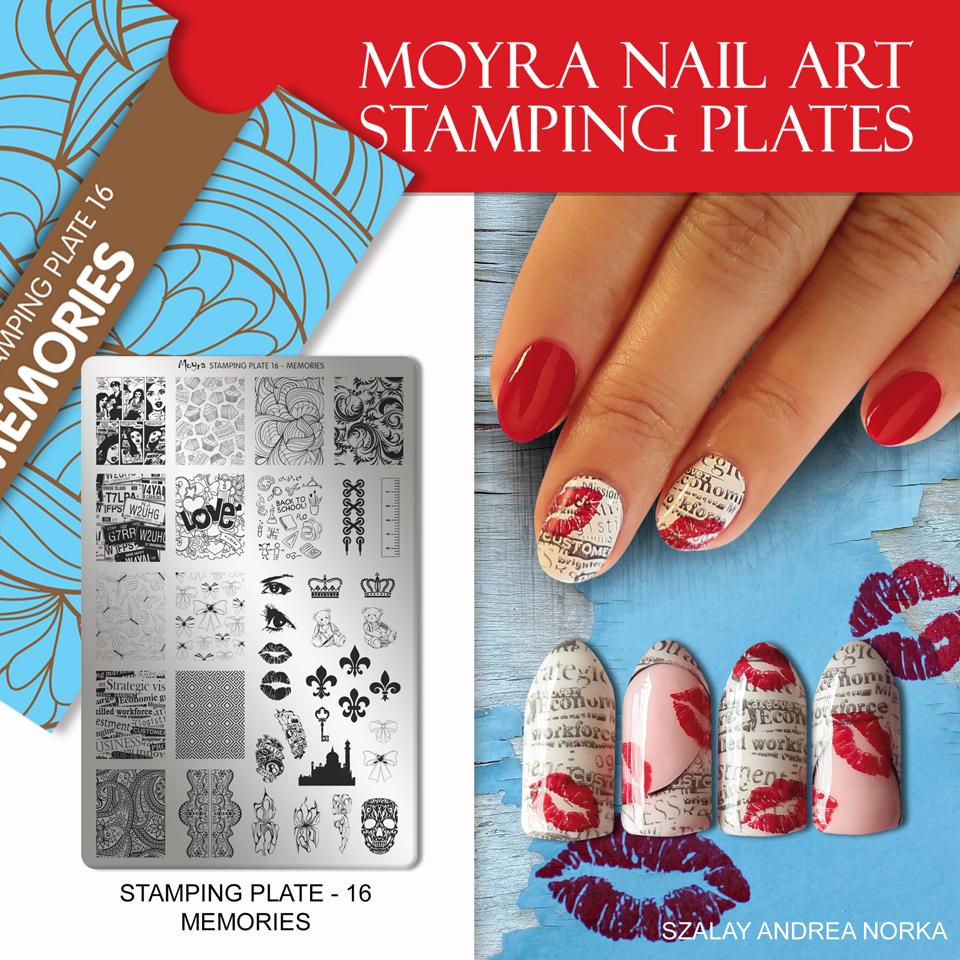 Nail design with Moyra stamping plate No. 16 Memories