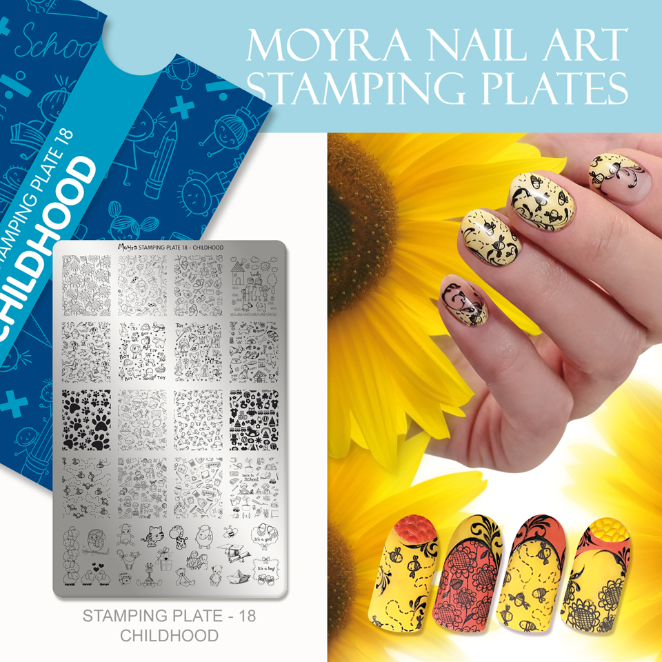 Nail design with Moyra stamping plate No. 18 Childhood