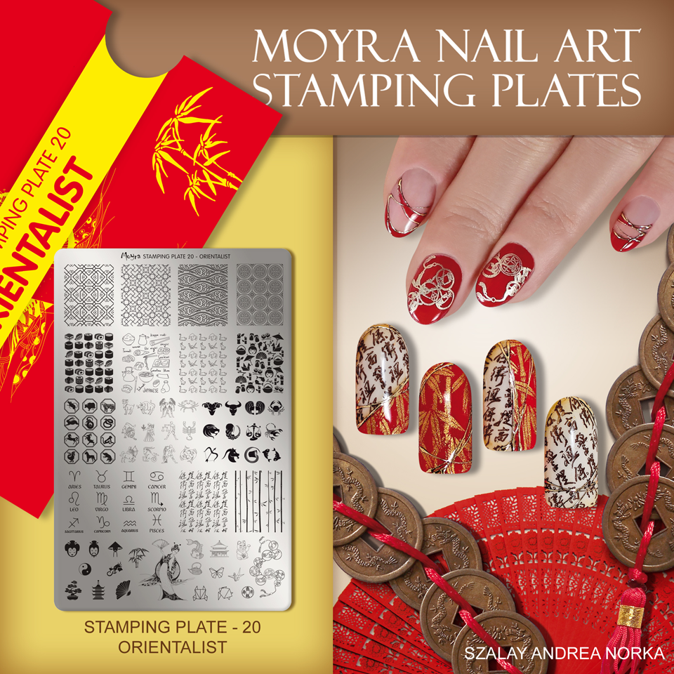 Nail design with Moyra stamping plate No. 20 Orientalist