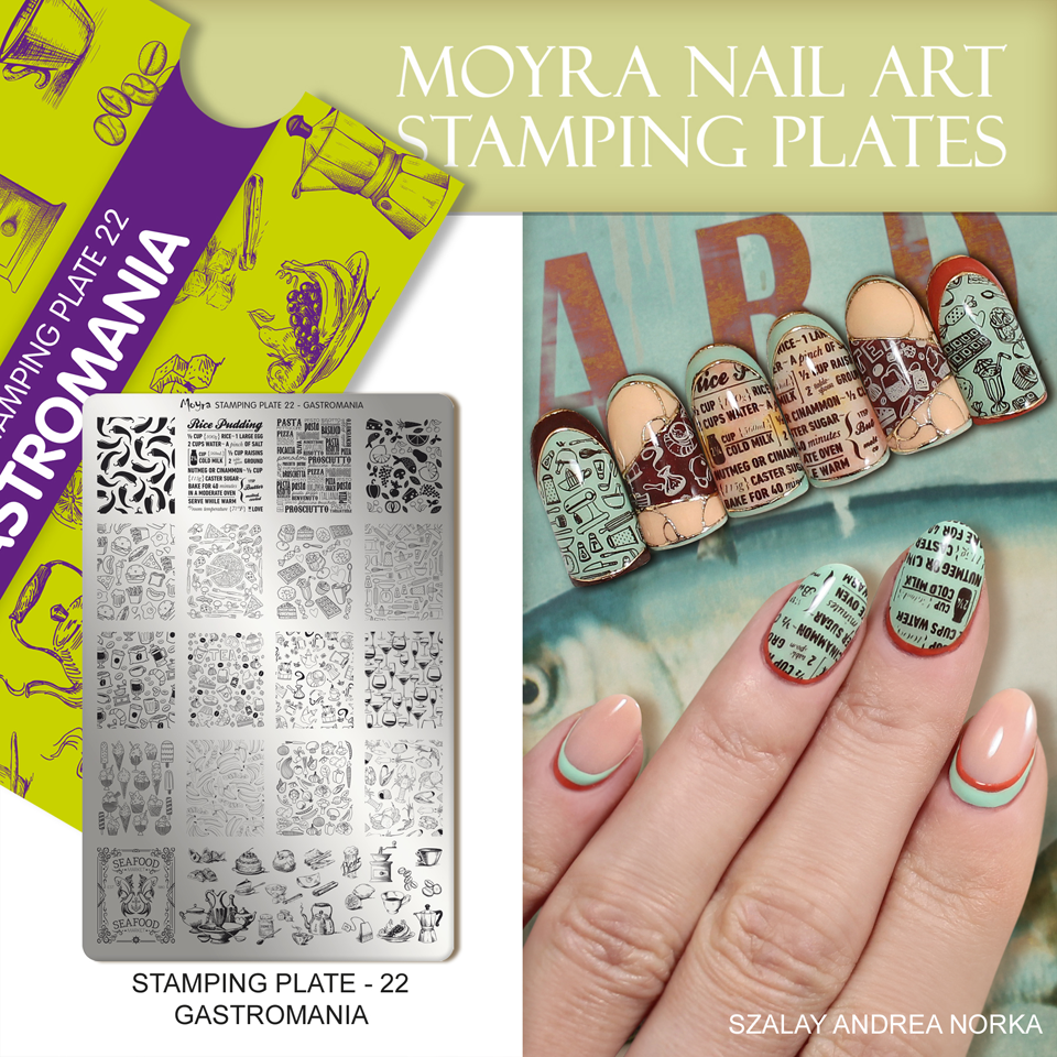 Nail design with Moyra stamping plate No. 22 Gastromania