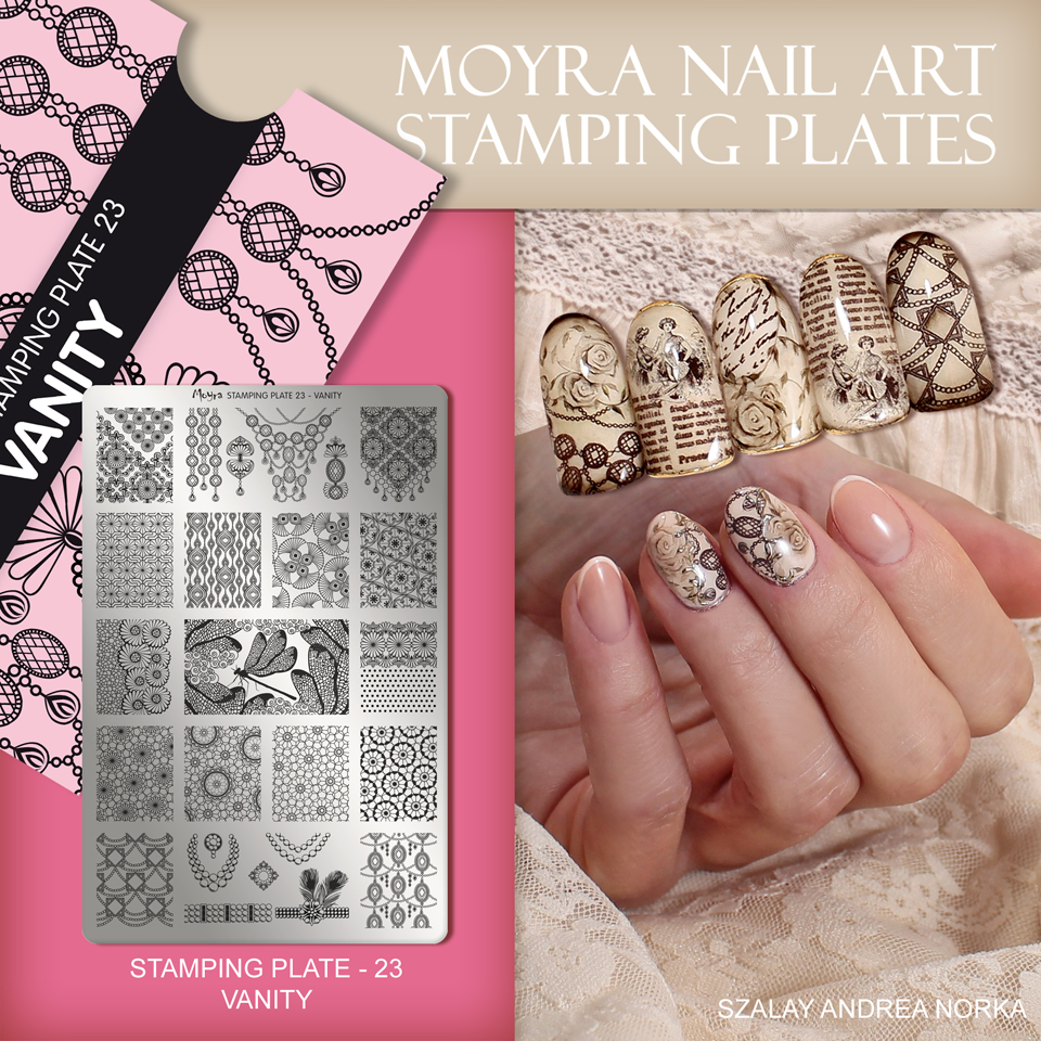 Nail design with Moyra stamping plate No. 23 Vanity