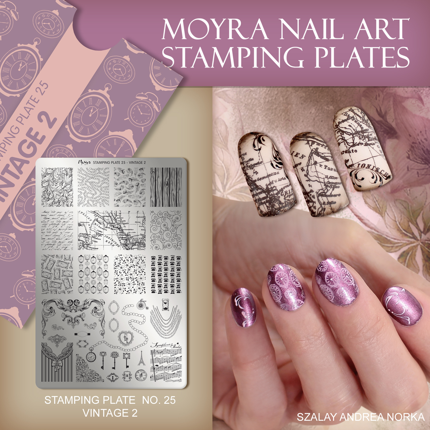 Nail design with Moyra stamping plate No. 25 Vintage 2