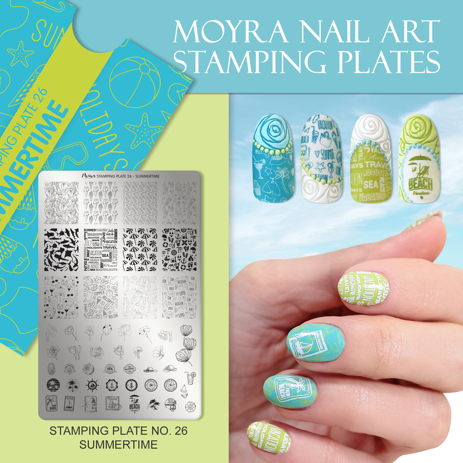 Nail design with Moyra stamping plate No. 26 Summertime