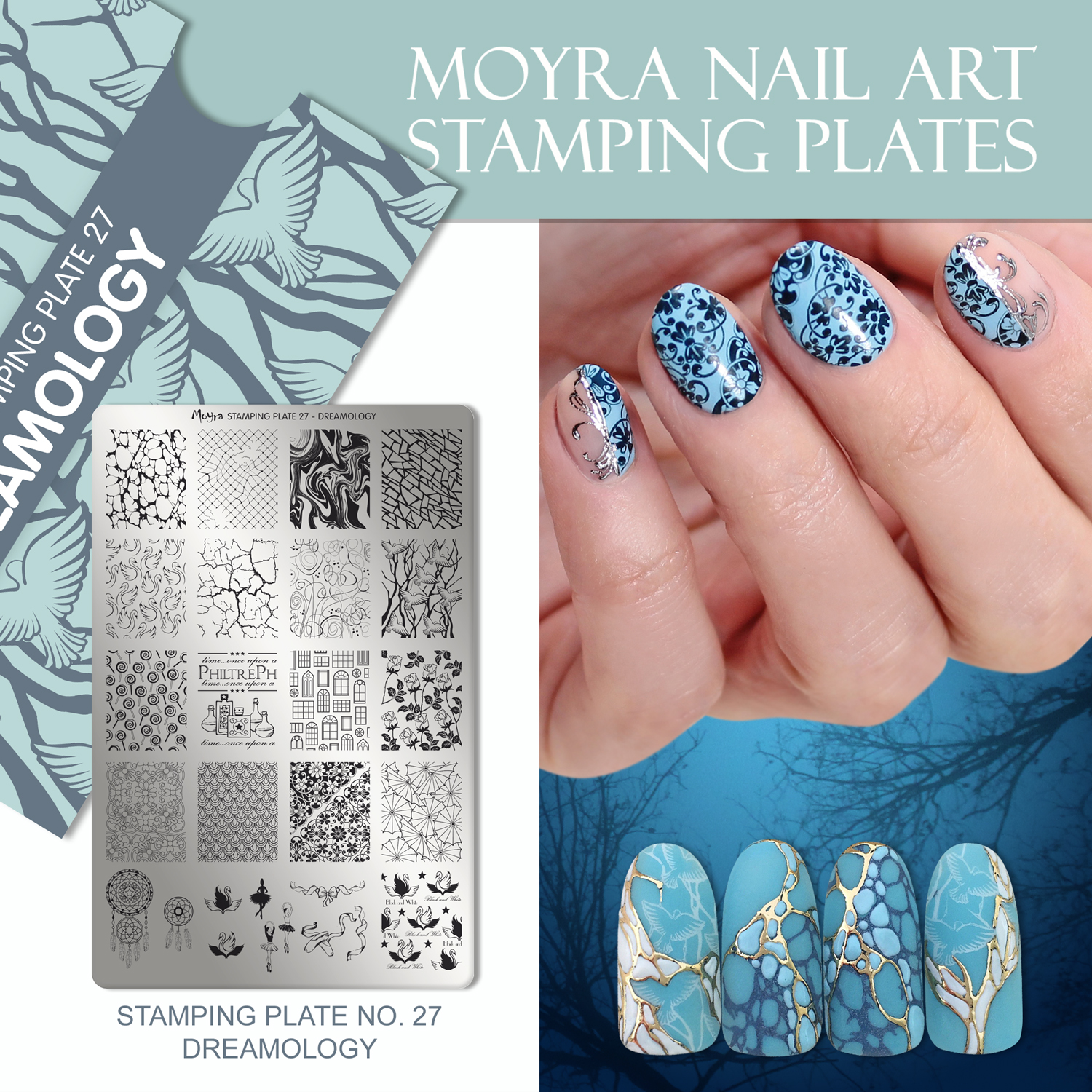 Nail design with Moyra stamping plate No. 27 Dreamology