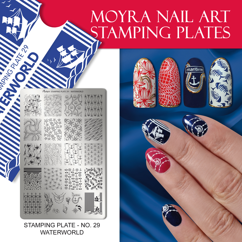 Nail design with Moyra stamping plate No. 29 Waterworld