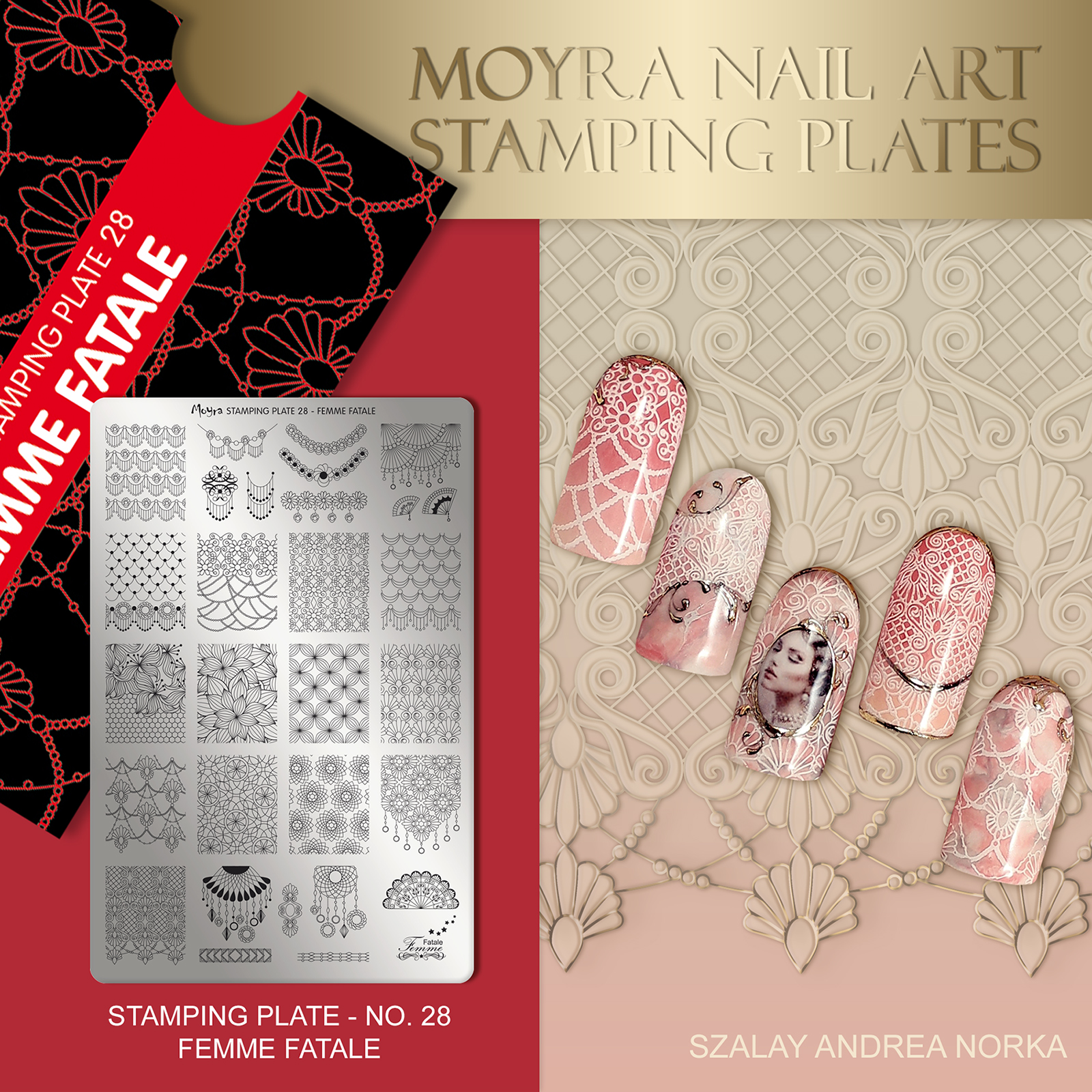 Nail design with Moyra stamping plate No. 28 Femme Fatale