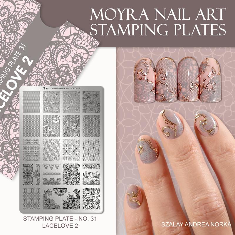 Moyra Nail Art Stamping Plate No. 31 Lacelove 2