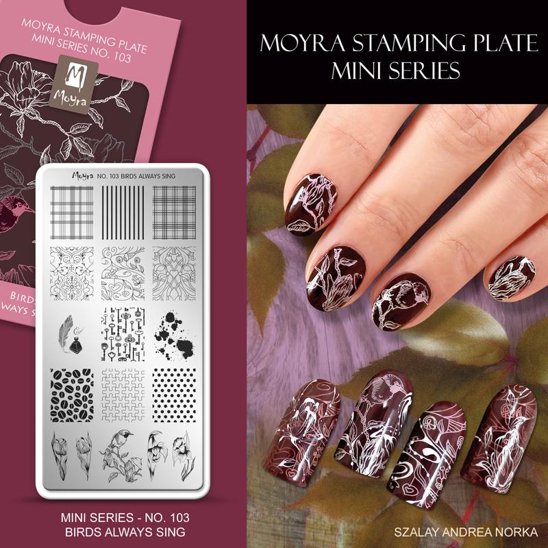 Moyra Nail Art Stamping Plate Mini Series No. 103 Birds Always Sing