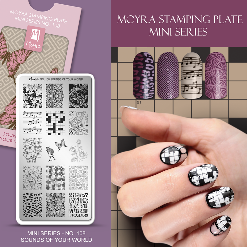 Moyra Nail Art Stamping Plate Mini Series No. 108 Sounds Of Your World