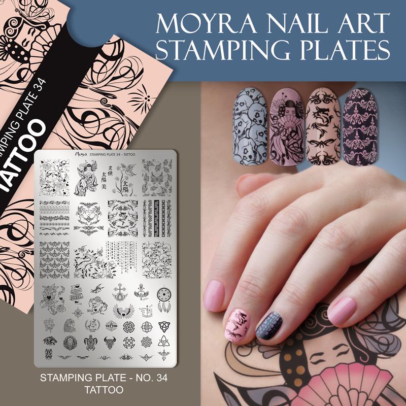 Moyra Nail Art Stamping Plate No. 34 Tattoo
