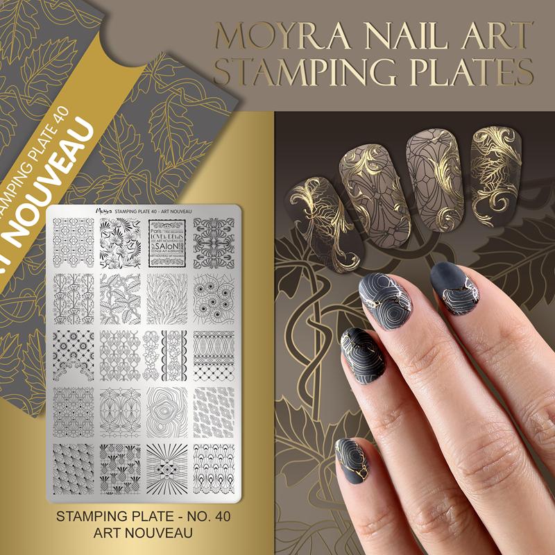 Moyra Nail Art Stamping Plate No. 40 Art Nouveau