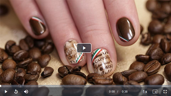 Coffe Nails - Nail Art Italian Patterns free video tutorial