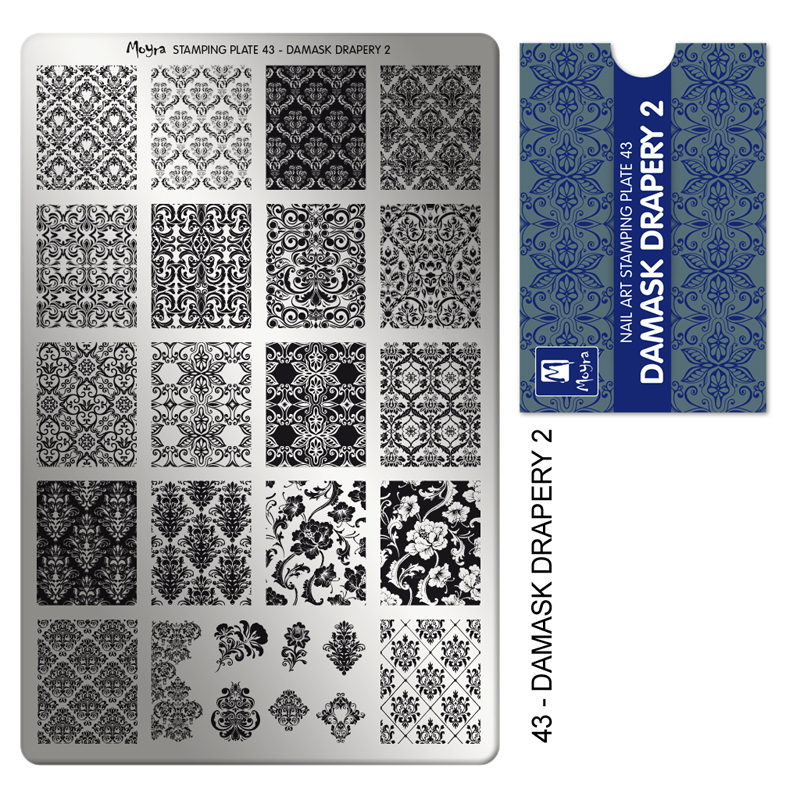 Moyra stamping plate 43 Damask Drapery 2