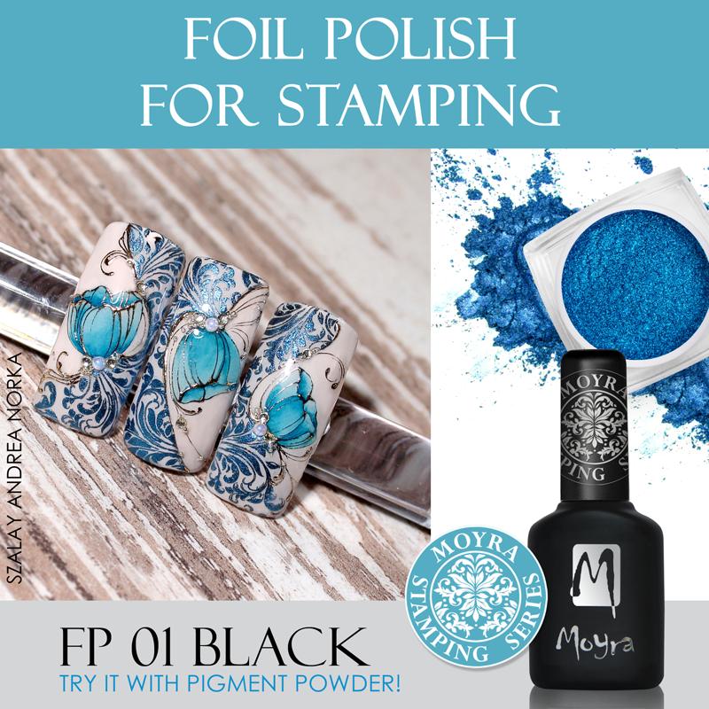 Nail art with Moyra Foil Polish No. 01 black.