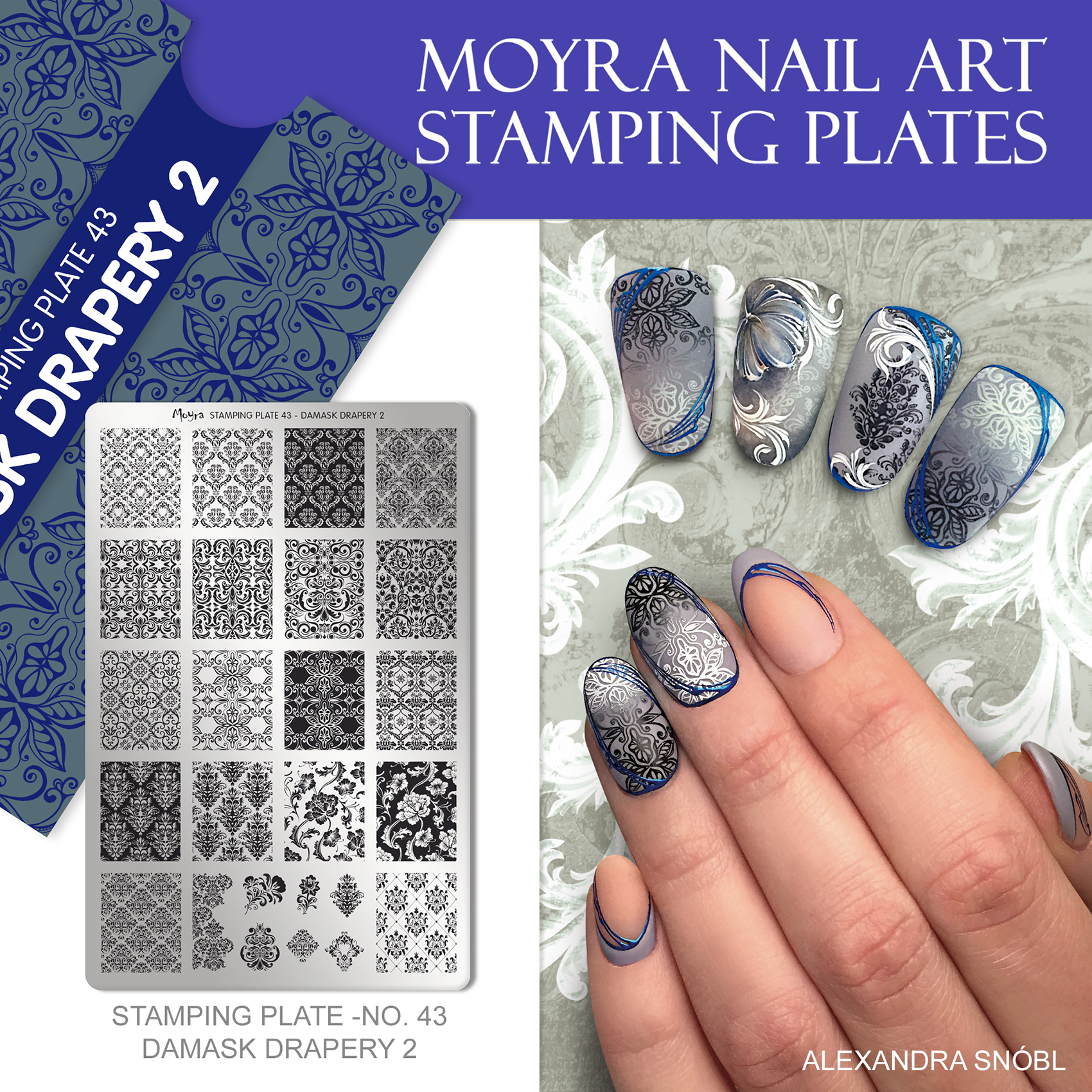 Moyra Nail Art Stamping Plate No. 43 Damask Drapery 2