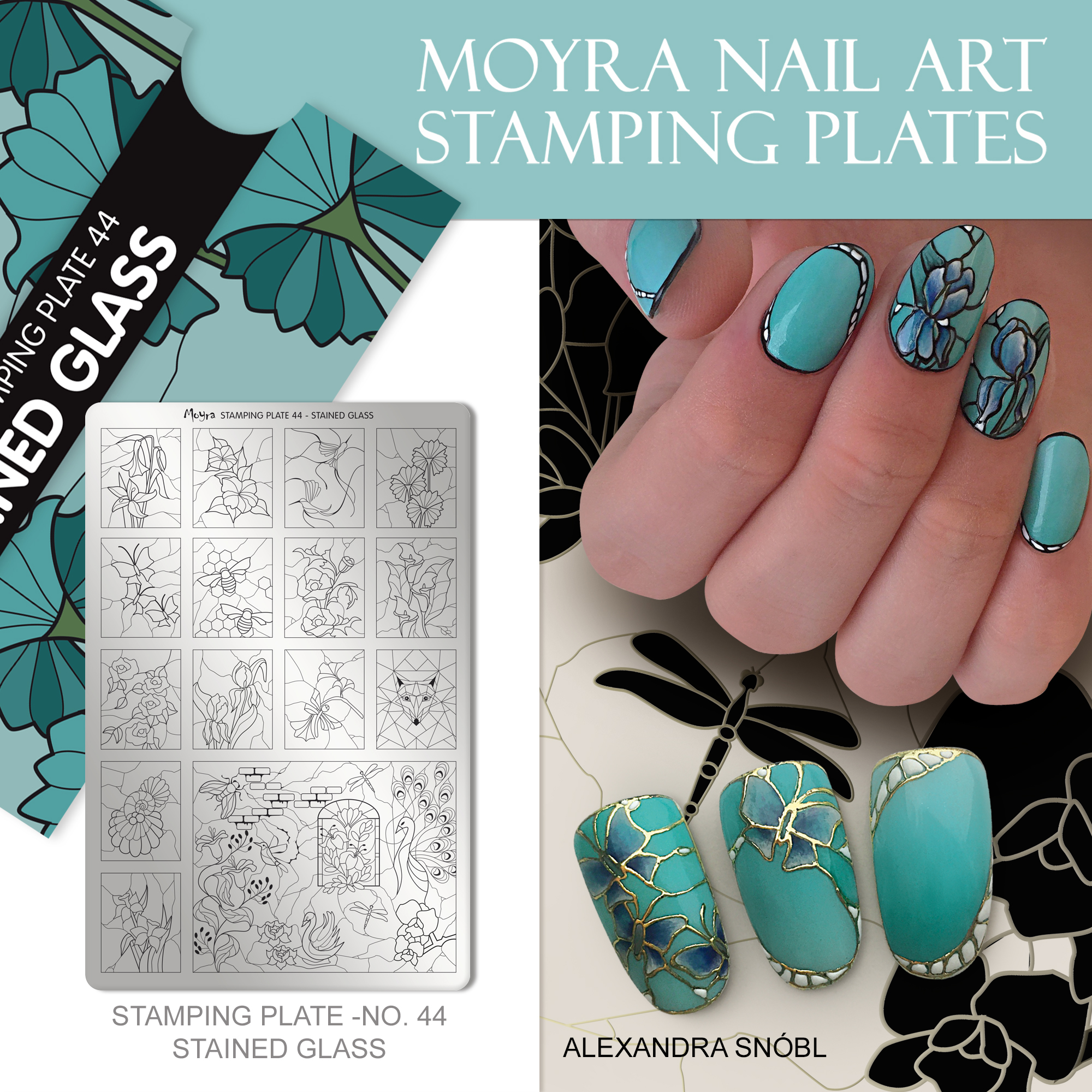 Moyra Nail Art Stamping Plate No. 44 Stained glass