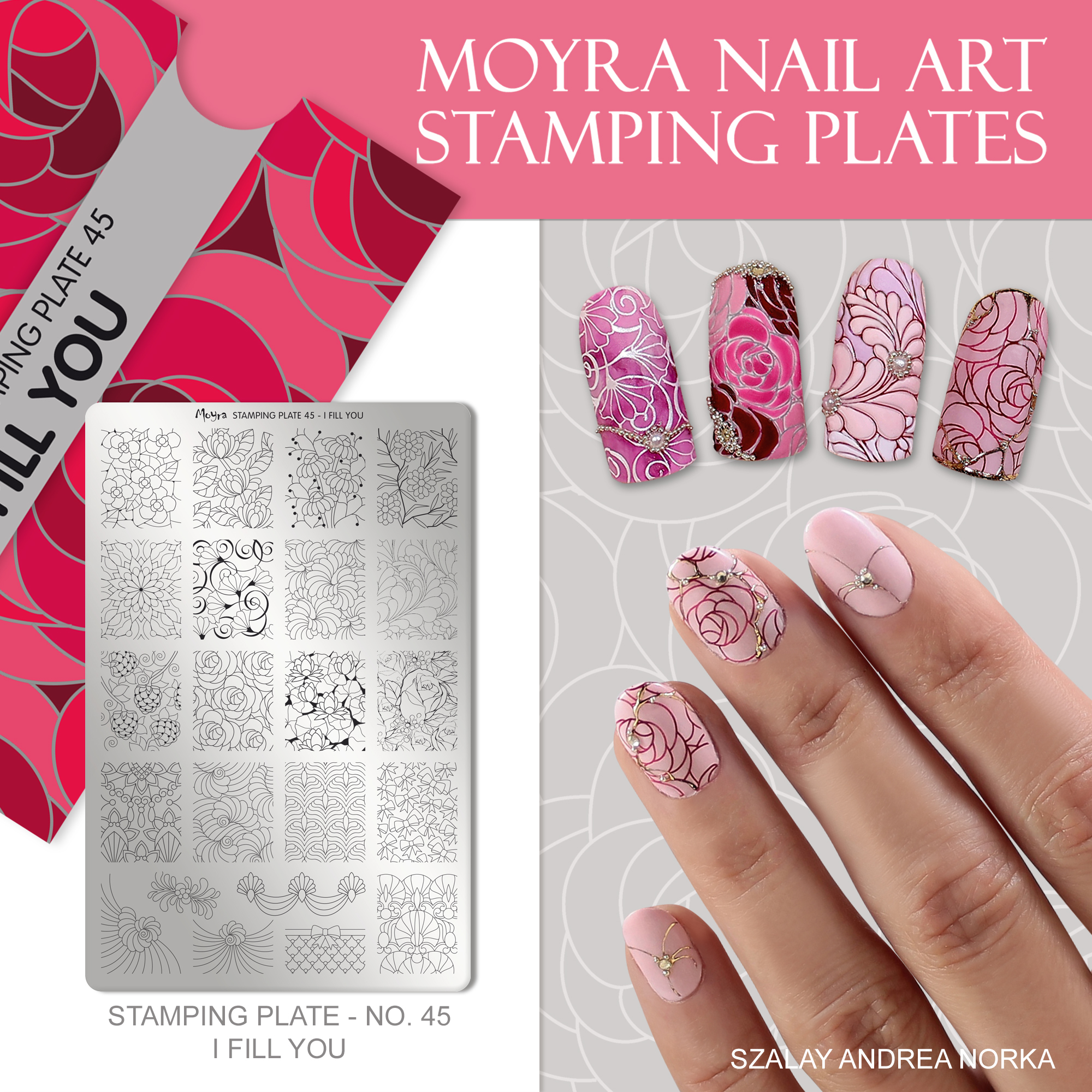 Moyra Nail Art Stamping Plate No. 45 I fill you