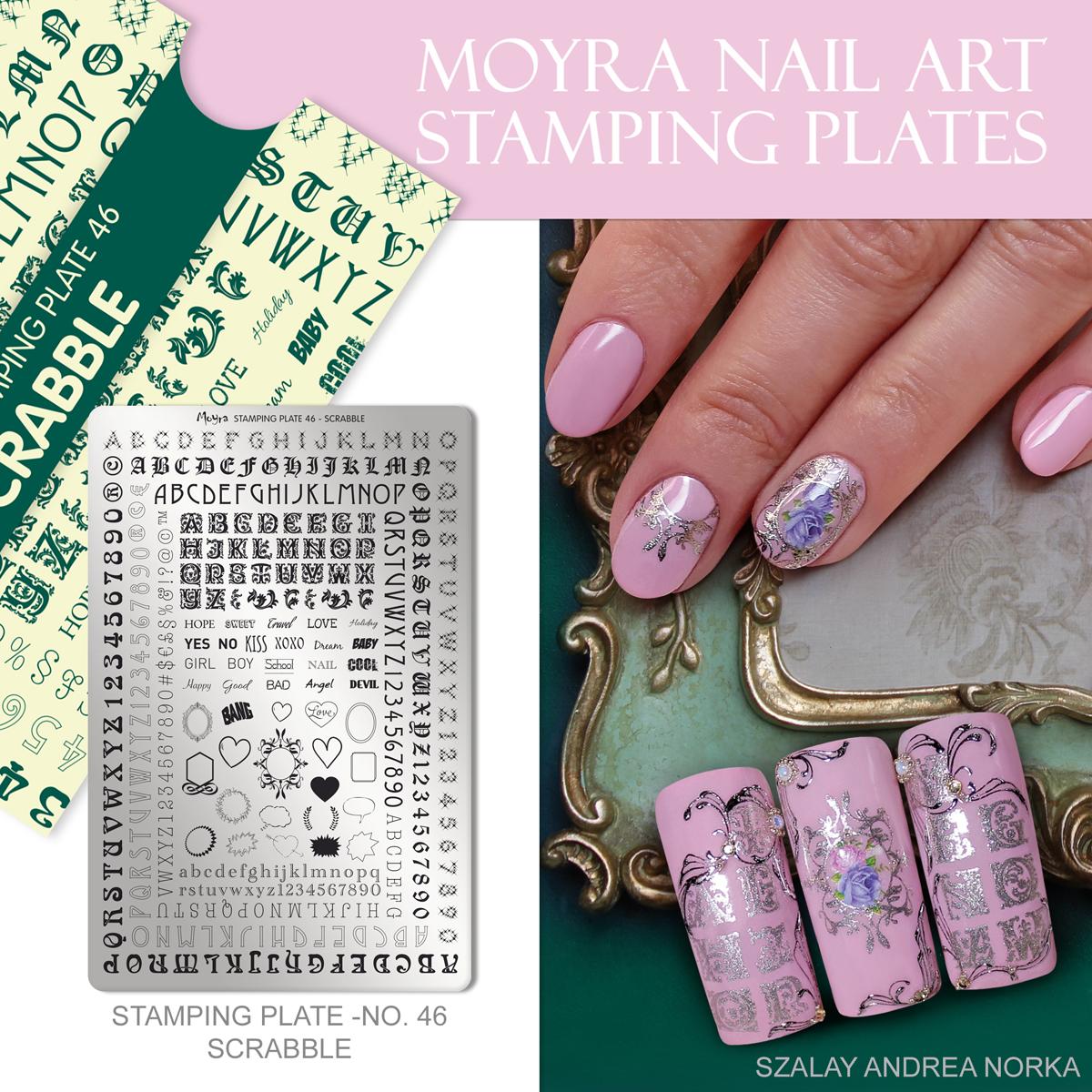 Moyra Nail Art Stamping Plate No. 46 Scrabble