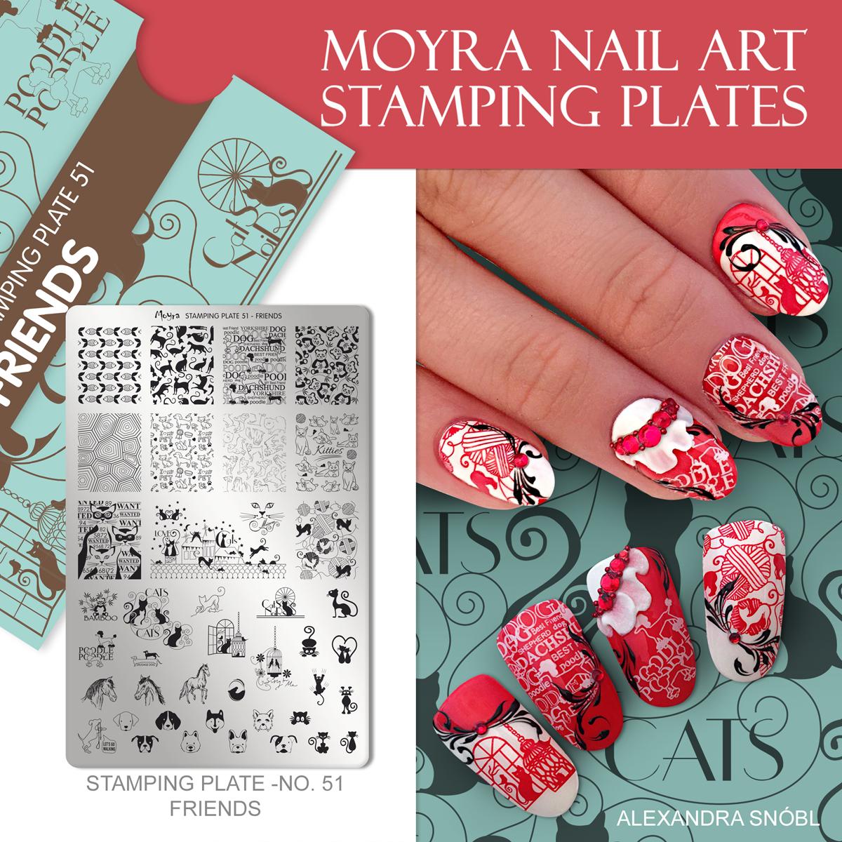Moyra Nail Art Stamping Plate No. 51 Friends