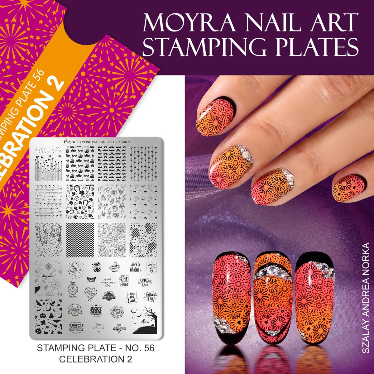 Moyra Nail Art Stamping Plate No. 56 Celebration 2