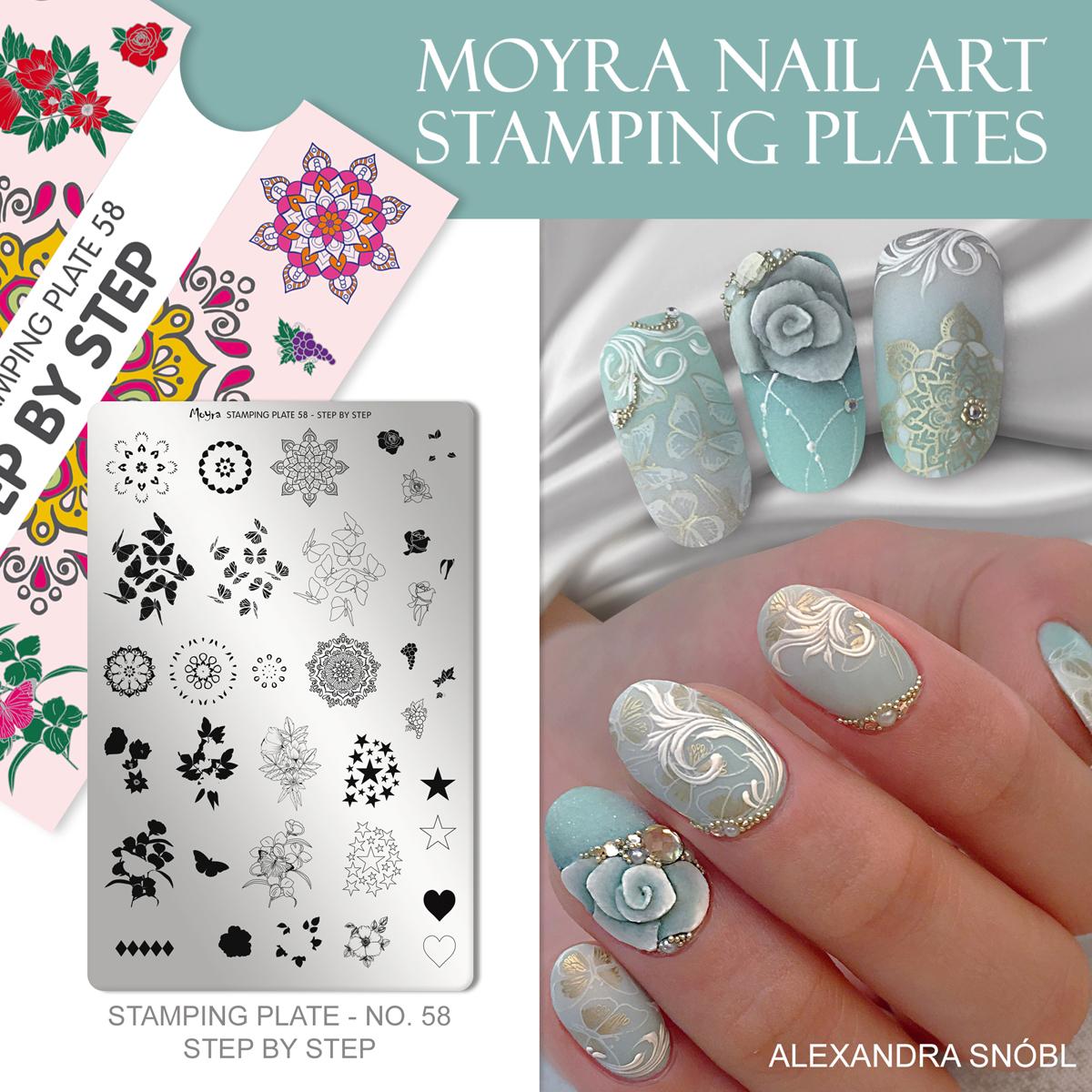 Moyra Nail Art Stamping Plate No. 58 Step by step