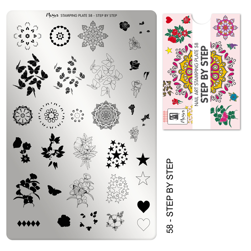 Moyra stamping plate 58 Step by step
