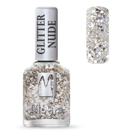 Glitter Nude effect nail polish No. 391 Silver