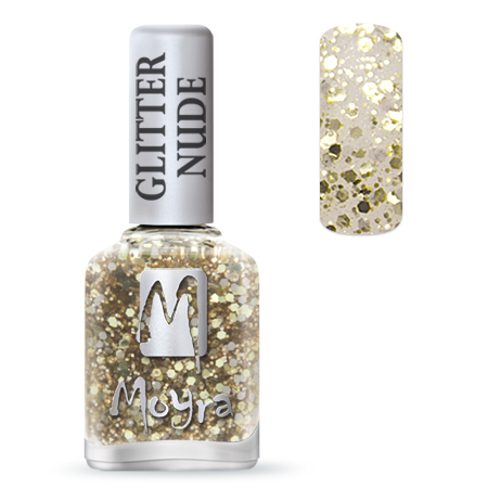 Glitter Nude effect nail polish No. 393 Gold
