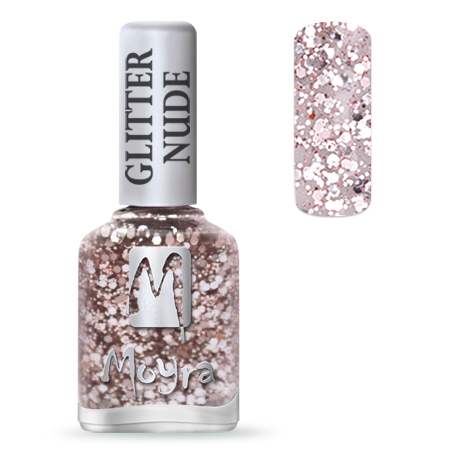 Glitter Nude effect nail polish No. 394 Rose
