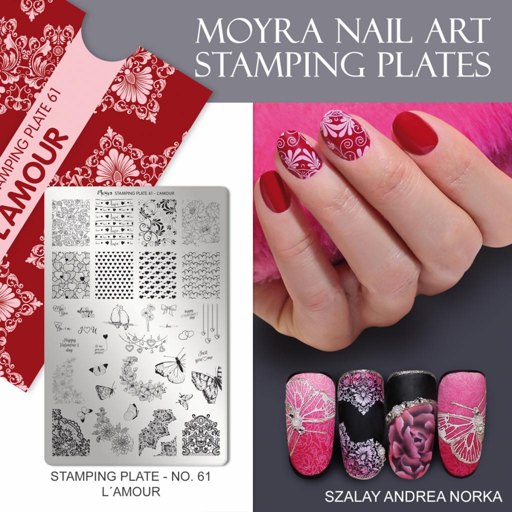 Moyra Nail Art Stamping Plate No. 61 L'Amour