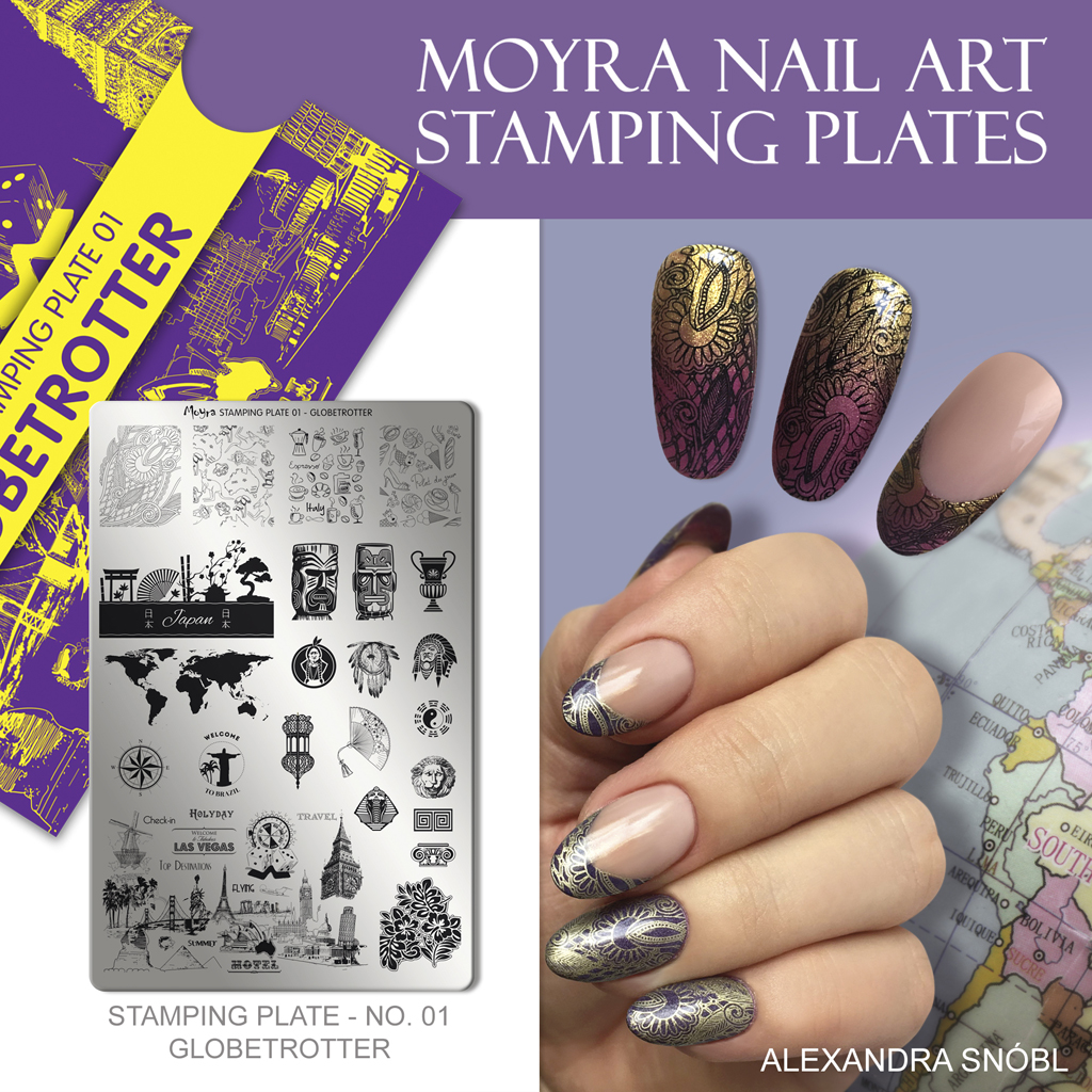 Nail design with Moyra stamping plate No. 01 Globetrotter