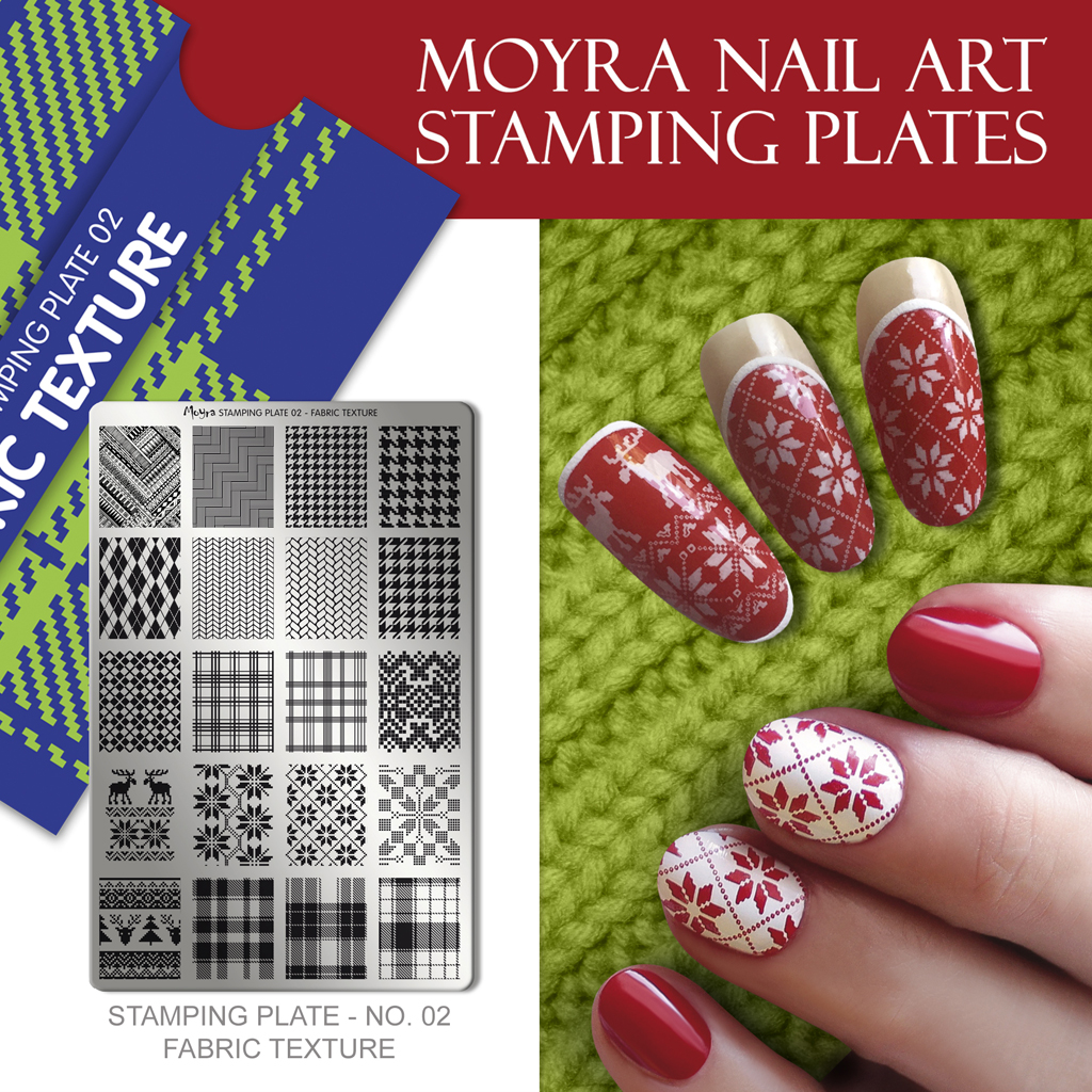 Nail design with Moyra stamping plate No. 02 Fabric texture