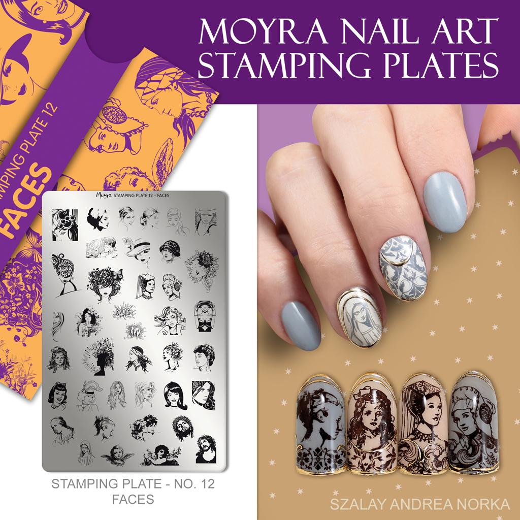 Moyra Nail Art Stamping Plate No. 12 Faces