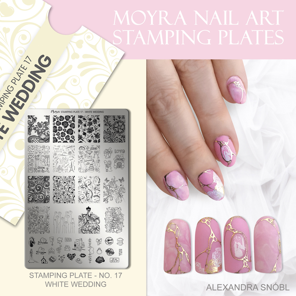 Nail design with Moyra stamping plate No. 17 White wedding