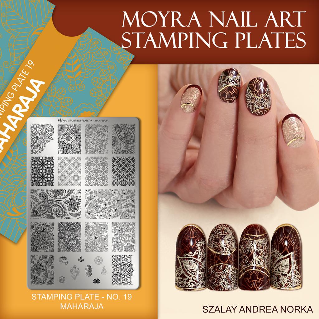 Nail design with Moyra stamping plate No. 19 Maharaja
