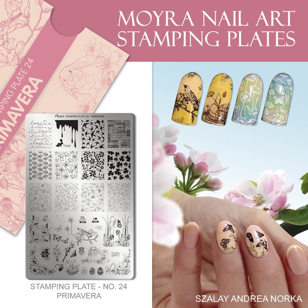 Nail design with Moyra stamping plate No. 24 Primavera