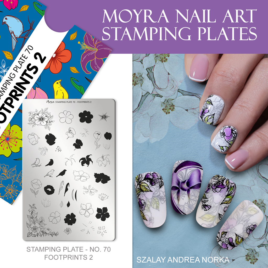 Moyra Nail Art Stamping Plate No. 70 Footprints 2