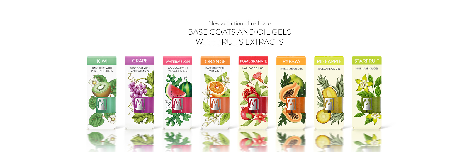 Moyra Base coats and oil gels with fruits extracts